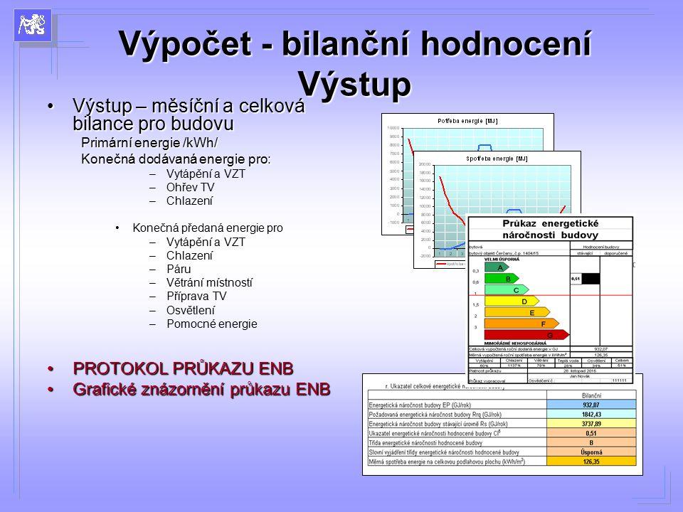 Výpočet - bilanční hodnocení Výstup Výstup – měsíční a celková bilance pro budovuVýstup – měsíční a celková bilance pro budovu Primární energie /kWh/