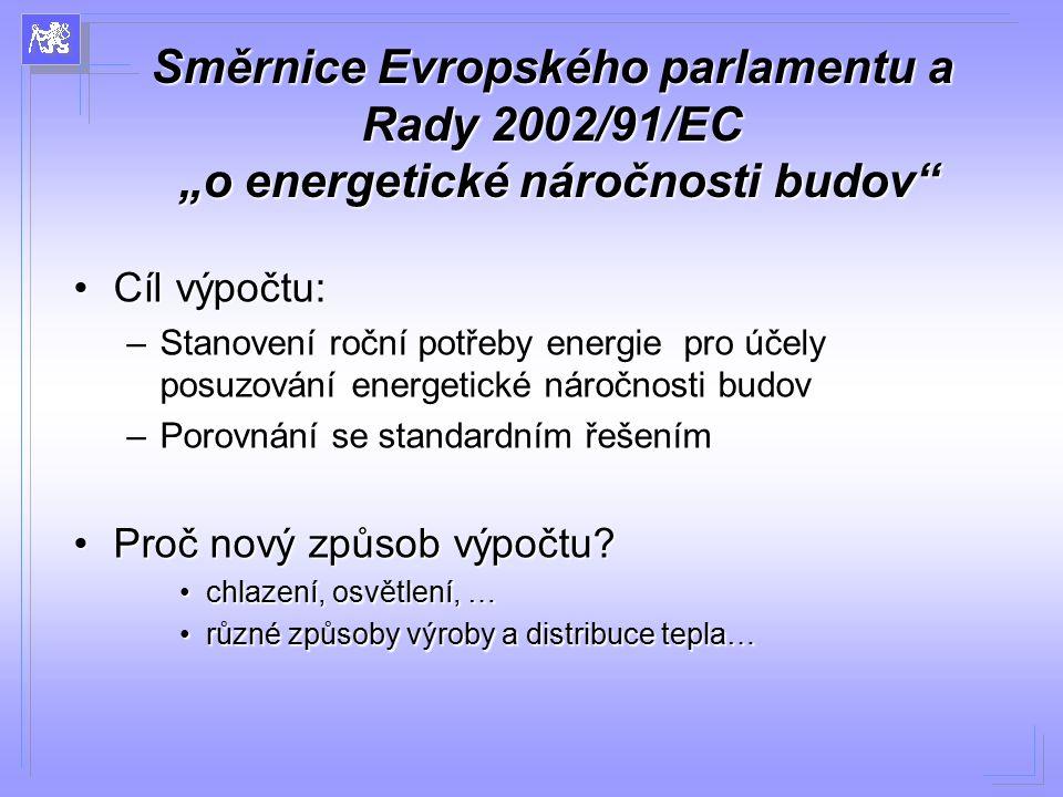 """Směrnice Evropského parlamentu a Rady 2002/91/EC """"o energetické náročnosti budov"""" Cíl výpočtu:Cíl výpočtu: –Stanovení roční potřeby energie pro účely"""