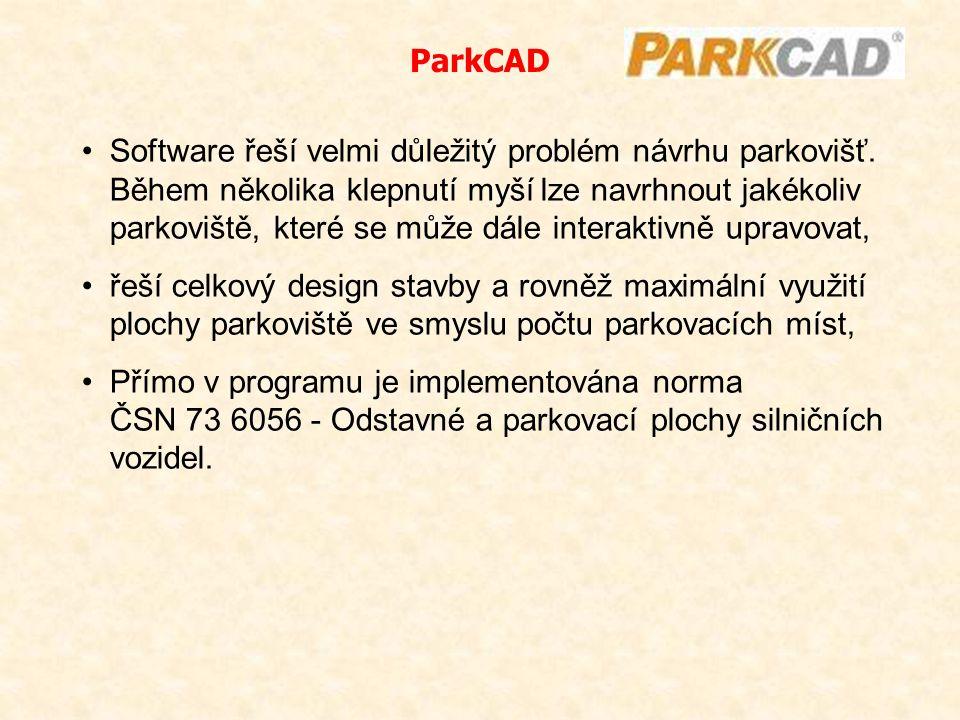 Software řeší velmi důležitý problém návrhu parkovišť. Během několika klepnutí myší lze navrhnout jakékoliv parkoviště, které se může dále interaktivn