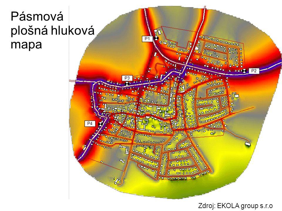 Zdroj: EKOLA group s.r.o Pásmová plošná hluková mapa