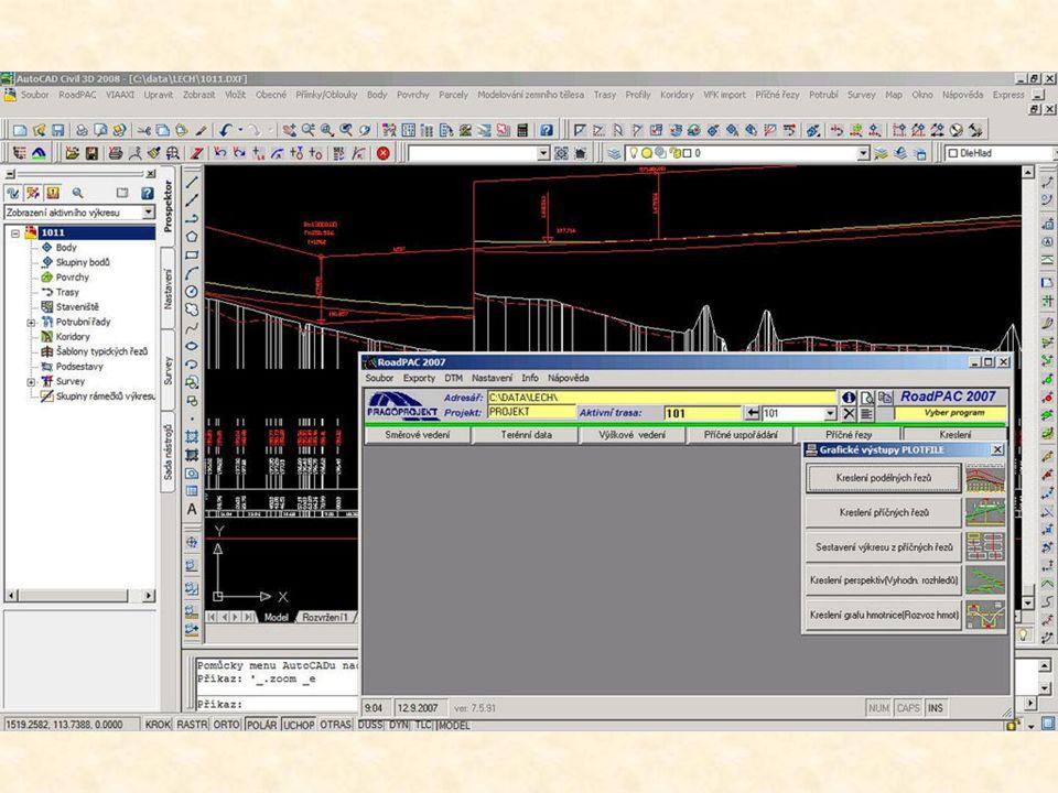 CAD systém pro projektování silnic a dálnic kompatibilní s AutoCAD Civil 3D.