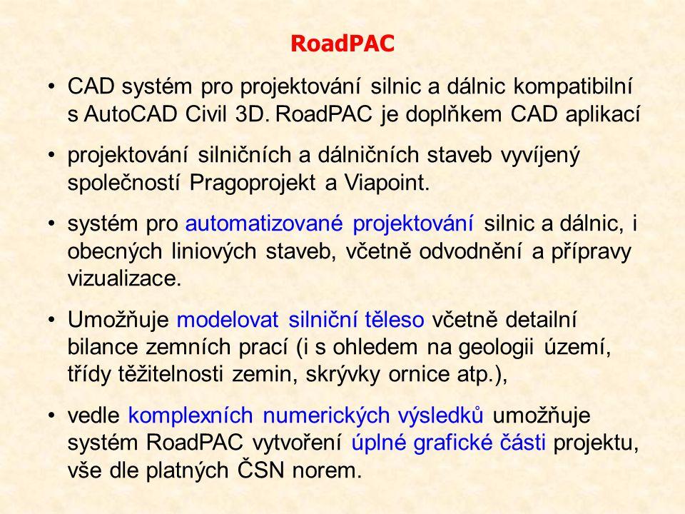 CAD systém pro projektování silnic a dálnic kompatibilní s AutoCAD Civil 3D. RoadPAC je doplňkem CAD aplikací projektování silničních a dálničních sta