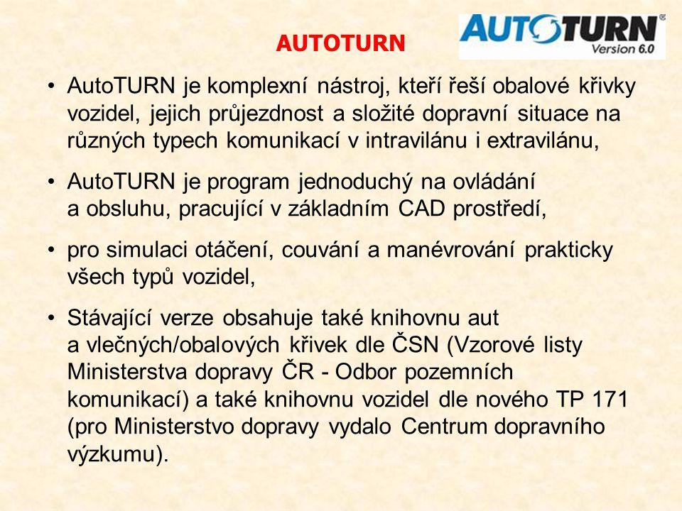 AutoTURN je komplexní nástroj, kteří řeší obalové křivky vozidel, jejich průjezdnost a složité dopravní situace na různých typech komunikací v intravi