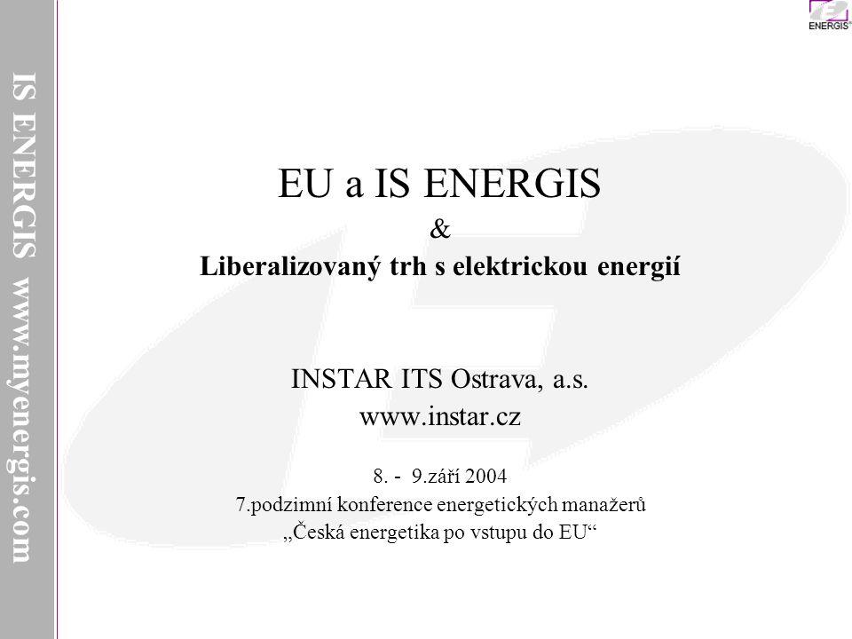 IS ENERGIS Liberalizovaný trh s elektrickou energií Provozovatelé distribučních soustav Oprávnění zákazníci Provozovatelé přenosových soustav Výrobci Utility Obchodníci Tok elektřiny Tok peněz IS ENERGIS www.myenergis.com
