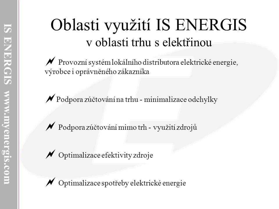 IS ENERGIS www.myenergis.com Oblasti využití IS ENERGIS v oblasti trhu s elektřinou  Provozní systém lokálního distributora elektrické energie, výrobce i oprávněného zákazníka  Podpora zúčtování na trhu - minimalizace odchylky  Podpora zúčtování mimo trh - využití zdrojů  Optimalizace efektivity zdroje  Optimalizace spotřeby elektrické energie