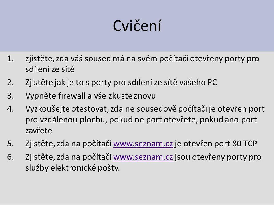 Netstat Součást Windows Otestuje otevřené porty a navazáná spojení Řádkový příkaz – Napsat do příkazové konzole – Tvary: Netstat /.