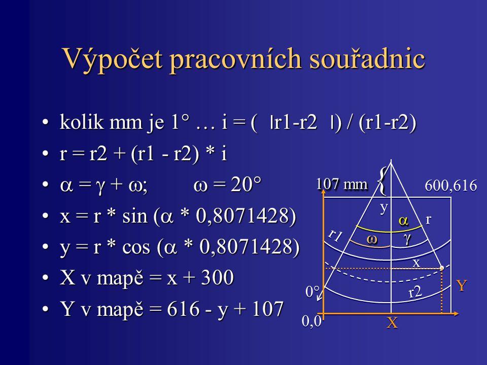 Výpočet pracovních souřadnic kolik mm je 1° … i = ( ׀ r1-r2 ׀ ) / (r1-r2)kolik mm je 1° … i = ( ׀ r1-r2 ׀ ) / (r1-r2) r = r2 + (r1 - r2) * ir = r2 + (