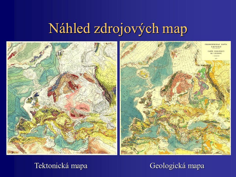 Náhled zdrojových map Tektonická mapa Geologická mapa