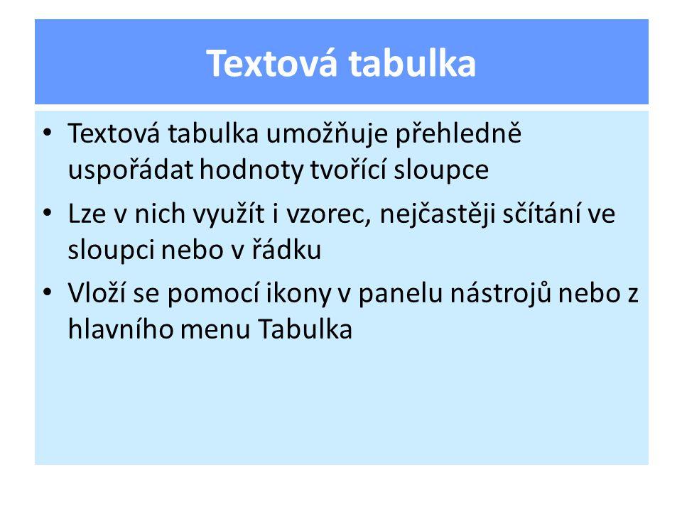 Textová tabulka umožňuje přehledně uspořádat hodnoty tvořící sloupce Lze v nich využít i vzorec, nejčastěji sčítání ve sloupci nebo v řádku Vloží se pomocí ikony v panelu nástrojů nebo z hlavního menu Tabulka Textová tabulka