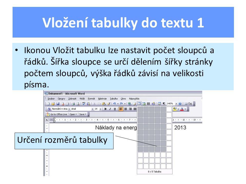 Při využití Hlavního menu Tabulka lze zadat počet sloupců, řádků, šířku sloupce.