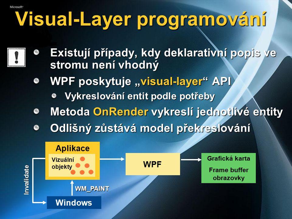"""Visual-Layer programování Existují případy, kdy deklarativní popis ve stromu není vhodný WPF poskytuje """"visual-layer API Vykreslování entit podle potřeby Metoda OnRender vykreslí jednotlivé entity Odlišný zůstává model překreslování Aplikace GDI+ nebo GDI32 Grafická karta Frame buffer obrazovky Windows WM_PAINT Invalidate WPF Aplikace Vizuální objekty"""