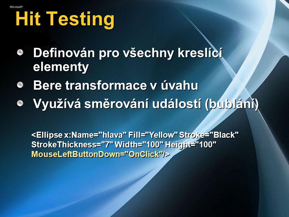 Hit Testing Definován pro všechny kreslící elementy Bere transformace v úvahu Využívá směrování událostí (bublání) <Ellipse x:Name= hlava Fill= Yellow Stroke= Black StrokeThickness= 7 Width= 100 Height= 100 MouseLeftButtonDown= OnClick />