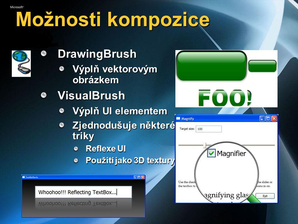 Možnosti kompozice DrawingBrush Výplň vektorovým obrázkem VisualBrush Výplň UI elementem Zjednodušuje některé triky Reflexe UI Použití jako 3D textury