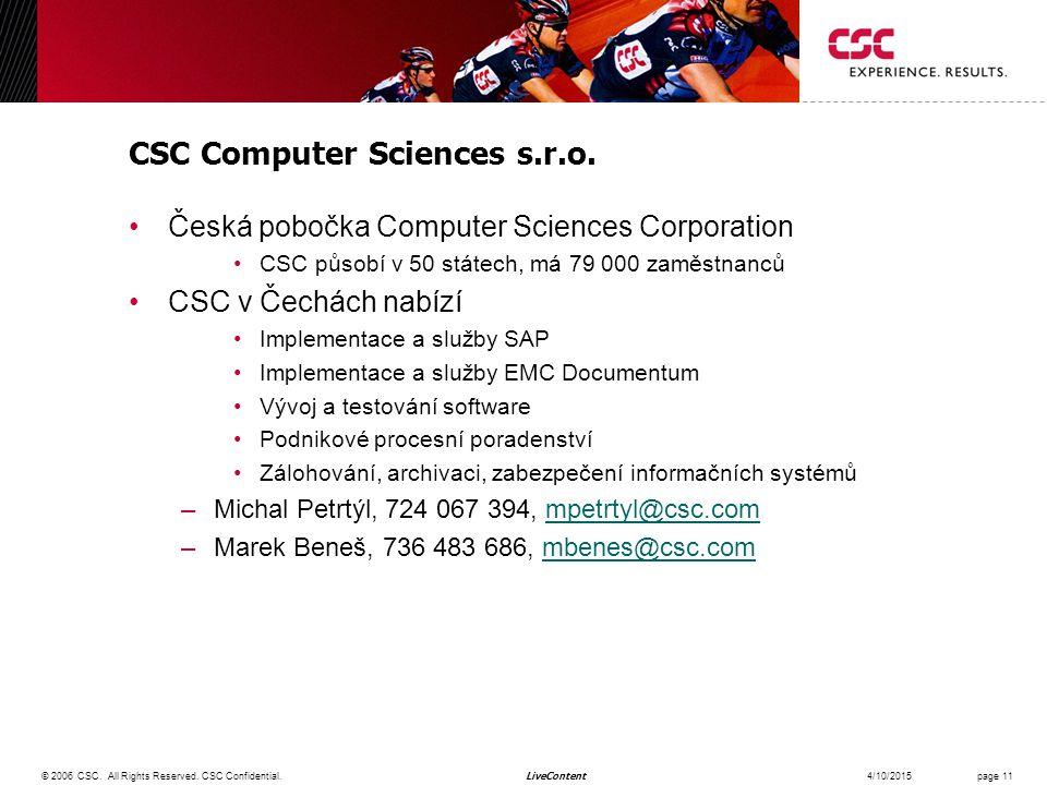 LiveContent CSC Computer Sciences s.r.o.
