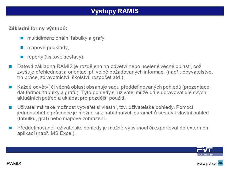 10 www.pvt.cz RAMIS Výstupy RAMIS Základní formy výstupů: multidimenzionální tabulky a grafy, mapové podklady, reporty (tiskové sestavy). Datová zákla
