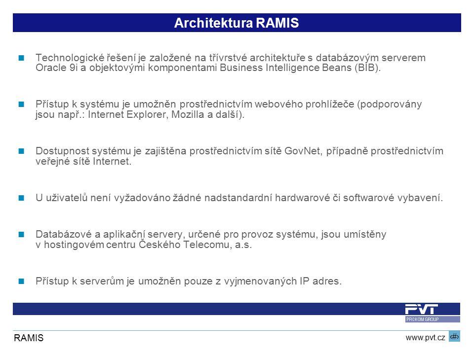 13 www.pvt.cz RAMIS Architektura RAMIS Technologické řešení je založené na třívrstvé architektuře s databázovým serverem Oracle 9i a objektovými kompo