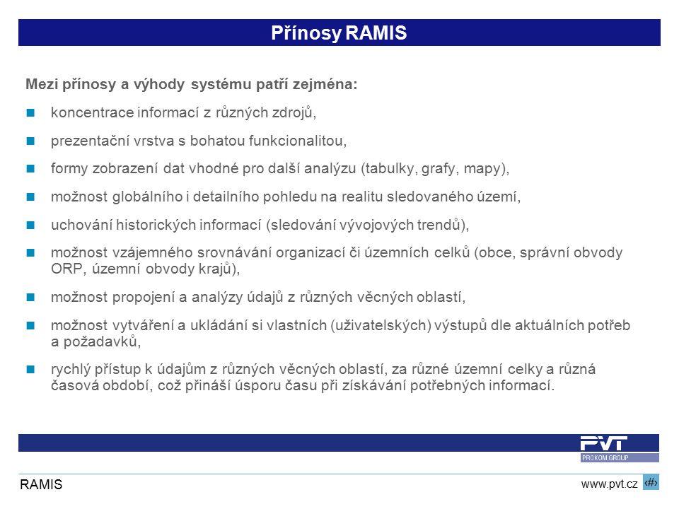 14 www.pvt.cz RAMIS Přínosy RAMIS Mezi přínosy a výhody systému patří zejména: koncentrace informací z různých zdrojů, prezentační vrstva s bohatou fu