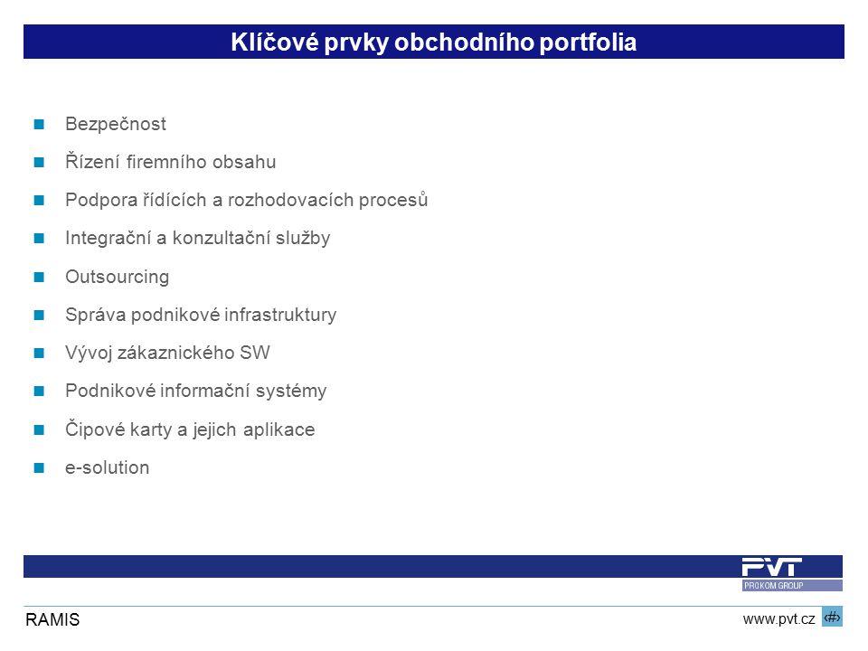 4 www.pvt.cz RAMIS Klíčové prvky obchodního portfolia Bezpečnost Řízení firemního obsahu Podpora řídících a rozhodovacích procesů Integrační a konzult