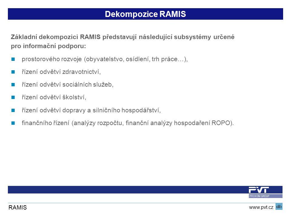 8 www.pvt.cz RAMIS Dekompozice RAMIS Základní dekompozici RAMIS představují následující subsystémy určené pro informační podporu: prostorového rozvoje