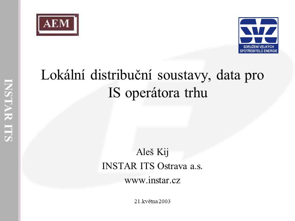 INSTAR ITS Lokální distribuční soustavy, data pro IS operátora trhu Aleš Kij INSTAR ITS Ostrava a.s. www.instar.cz 21.května 2003