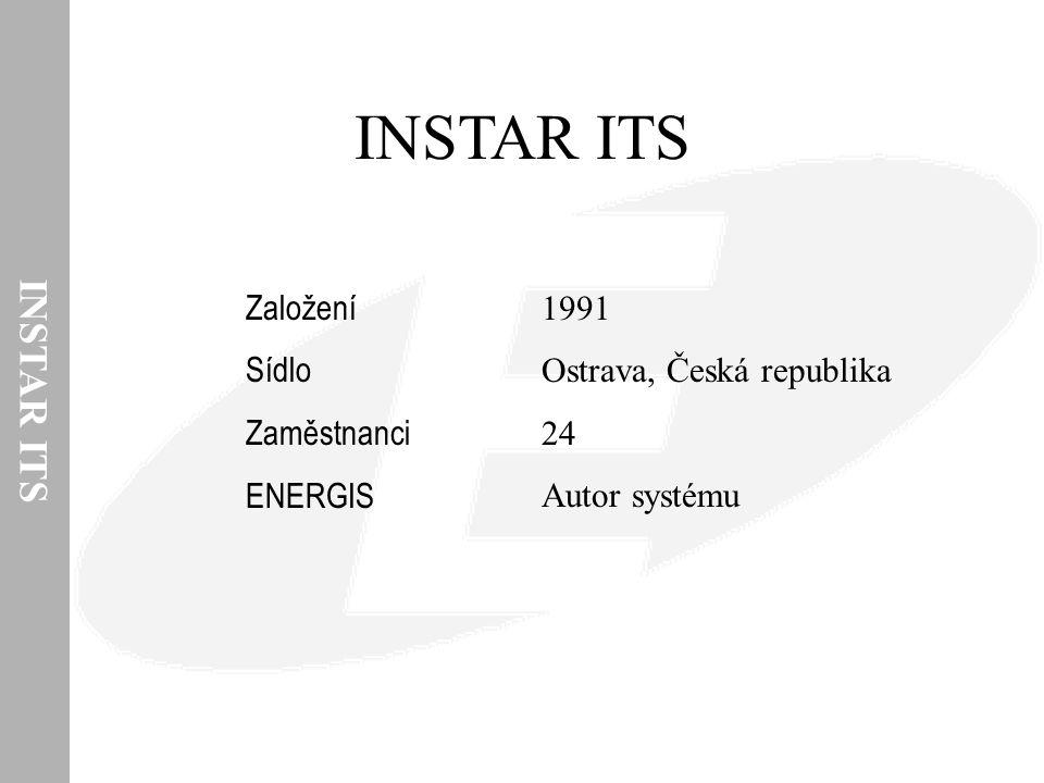 INSTAR ITS ENERGIS Vlastnosti  Otevřená architektura (datové zdroje, HW, OS, databáze)  Dospělý produkt (plánovaný rozvoj, zpětná kompatibilita)  Bezpečnost (selektivní přístup k datům a funkcím)  Lokalizace (česky, anglicky, německy, …)  Ochrana proti ztrátě dat (integrovaná na všech úrovních systému)  Zákaznická parametrizace  Pružnost (nové datové zdroje, organizační změny, …)