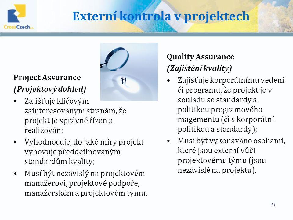Externí kontrola v projektech Project Assurance (Projektový dohled) Zajišťuje klíčovým zainteresovaným stranám, že projekt je správně řízen a realizován; Vyhodnocuje, do jaké míry projekt vyhovuje předdefinovaným standardům kvality; Musí být nezávislý na projektovém manažerovi, projektové podpoře, manažerském a projektovém týmu.