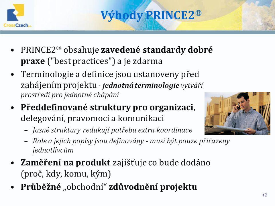 """Výhody PRINCE2 ® PRINCE2 ® obsahuje zavedené standardy dobré praxe ( best practices ) a je zdarma Terminologie a definice jsou ustanoveny před zahájením projektu - jednotná terminologie vytváří prostředí pro jednotné chápání Předdefinované struktury pro organizaci, delegování, pravomoci a komunikaci –Jasné struktury redukují potřebu extra koordinace –Role a jejich popisy jsou definovány - musí být pouze přiřazeny jednotlivcům Zaměření na produkt zajišťuje co bude dodáno (proč, kdy, komu, kým) Průběžné """"obchodní zdůvodnění projektu 12"""