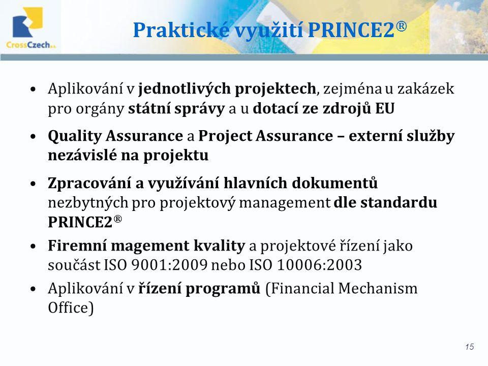Praktické využití PRINCE2 ® Aplikování v jednotlivých projektech, zejména u zakázek pro orgány státní správy a u dotací ze zdrojů EU Quality Assurance a Project Assurance – externí služby nezávislé na projektu Zpracování a využívání hlavních dokumentů nezbytných pro projektový management dle standardu PRINCE2 ® Firemní magement kvality a projektové řízení jako součást ISO 9001:2009 nebo ISO 10006:2003 Aplikování v řízení programů (Financial Mechanism Office) 15