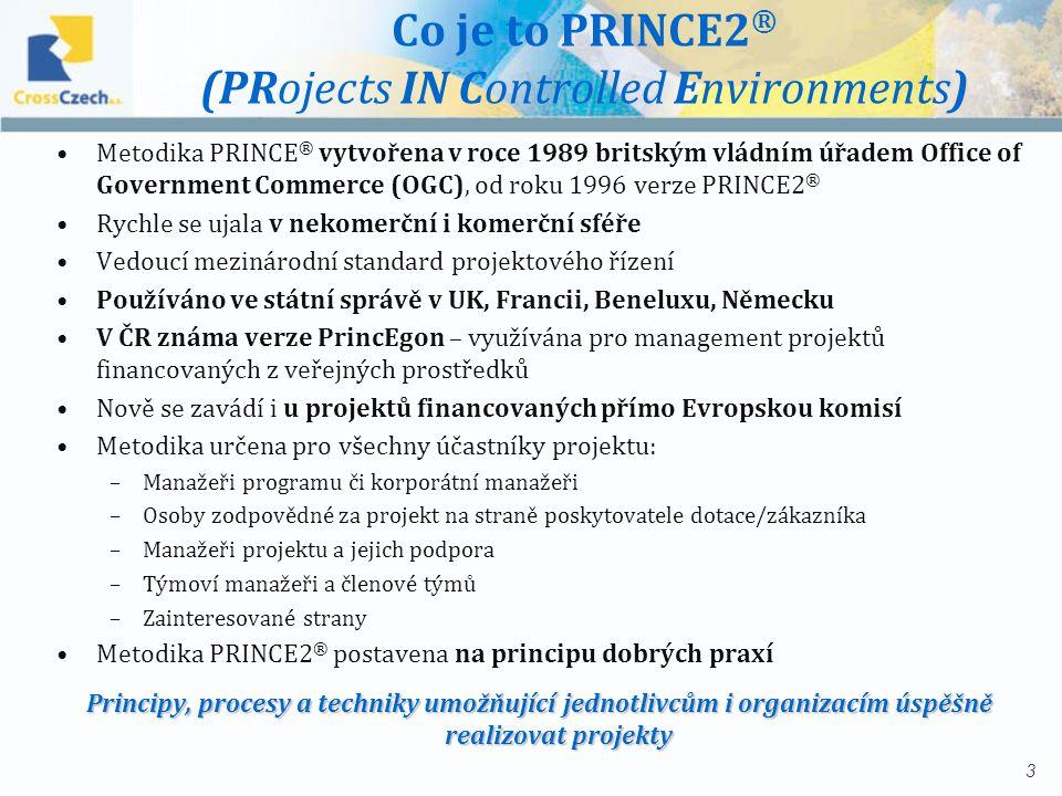 Co je to PRINCE2 ® (PRojects IN Controlled Environments) Metodika PRINCE ® vytvořena v roce 1989 britským vládním úřadem Office of Government Commerce (OGC), od roku 1996 verze PRINCE2 ® Rychle se ujala v nekomerční i komerční sféře Vedoucí mezinárodní standard projektového řízení Používáno ve státní správě v UK, Francii, Beneluxu, Německu V ČR známa verze PrincEgon – využívána pro management projektů financovaných z veřejných prostředků Nově se zavádí i u projektů financovaných přímo Evropskou komisí Metodika určena pro všechny účastníky projektu: –Manažeři programu či korporátní manažeři –Osoby zodpovědné za projekt na straně poskytovatele dotace/zákazníka –Manažeři projektu a jejich podpora –Týmoví manažeři a členové týmů –Zainteresované strany Metodika PRINCE2 ® postavena na principu dobrých praxí Principy, procesy a techniky umožňující jednotlivcům i organizacím úspěšně realizovat projekty 3
