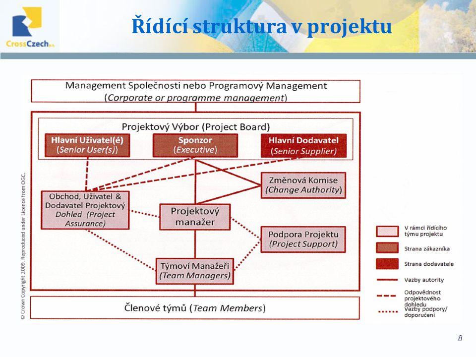 Výhody strukturovaného projektového managementu Výsledky jsou opakovatelné a srozumitelné Zkušenosti jsou zachyceny a slouží jako znalostní báze (schopnost učení se firmy) po dokončení může být projekt auditován na základě jeho dokumentace Kontrola výsledků (každý ví co očekávat) Řízení rizik a problémů Základ pro proaktivní činnost (minimalizace rizik) Vysoká rychlost reakce pomocí předem určených procesů a struktur Kvalita výsledků a provedení je řiditelná - kontrola efektivity a účinnosti 9