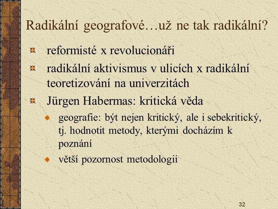 32 Radikální geografové…už ne tak radikální? reformisté x revolucionáři radikální aktivismus v ulicích x radikální teoretizování na univerzitách Jürge