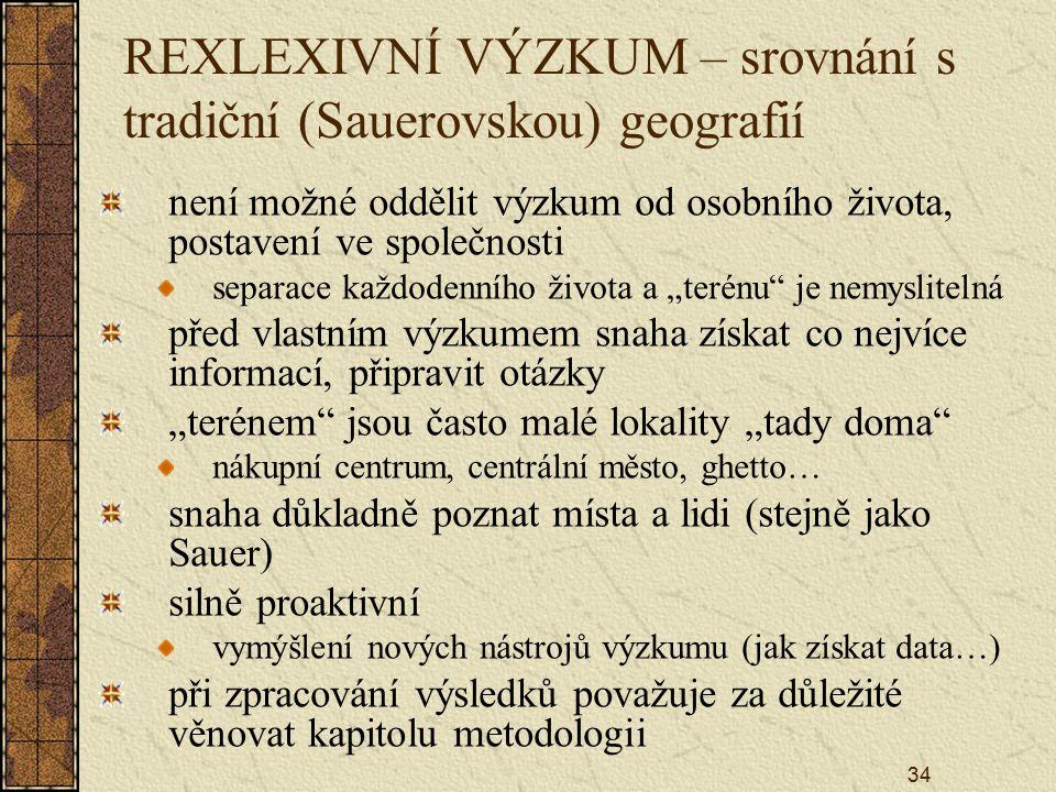 34 REXLEXIVNÍ VÝZKUM – srovnání s tradiční (Sauerovskou) geografií není možné oddělit výzkum od osobního života, postavení ve společnosti separace kaž