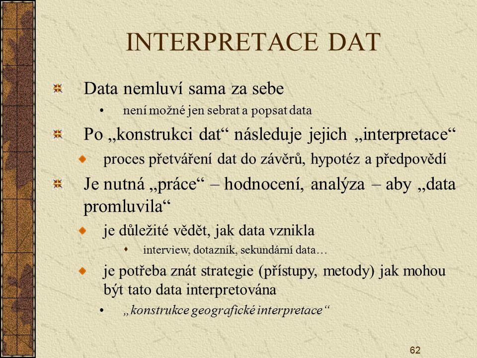 """62 INTERPRETACE DAT Data nemluví sama za sebe není možné jen sebrat a popsat data Po """"konstrukci dat následuje jejich """"interpretace proces přetváření dat do závěrů, hypotéz a předpovědí Je nutná """"práce – hodnocení, analýza – aby """"data promluvila je důležité vědět, jak data vznikla  interview, dotazník, sekundární data… je potřeba znát strategie (přístupy, metody) jak mohou být tato data interpretována """"konstrukce geografické interpretace"""