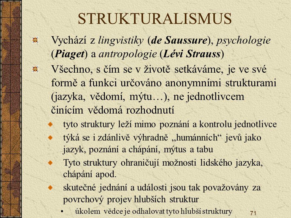 """71 STRUKTURALISMUS Vychází z lingvistiky (de Saussure), psychologie (Piaget) a antropologie (Lévi Strauss) Všechno, s čím se v životě setkáváme, je ve své formě a funkci určováno anonymními strukturami (jazyka, vědomí, mýtu…), ne jednotlivcem činícím vědomá rozhodnutí tyto struktury leží mimo poznání a kontrolu jednotlivce týká se i zdánlivě výhradně """"humánních jevů jako jazyk, poznání a chápání, mýtus a tabu Tyto struktury ohraničují možnosti lidského jazyka, chápání apod."""