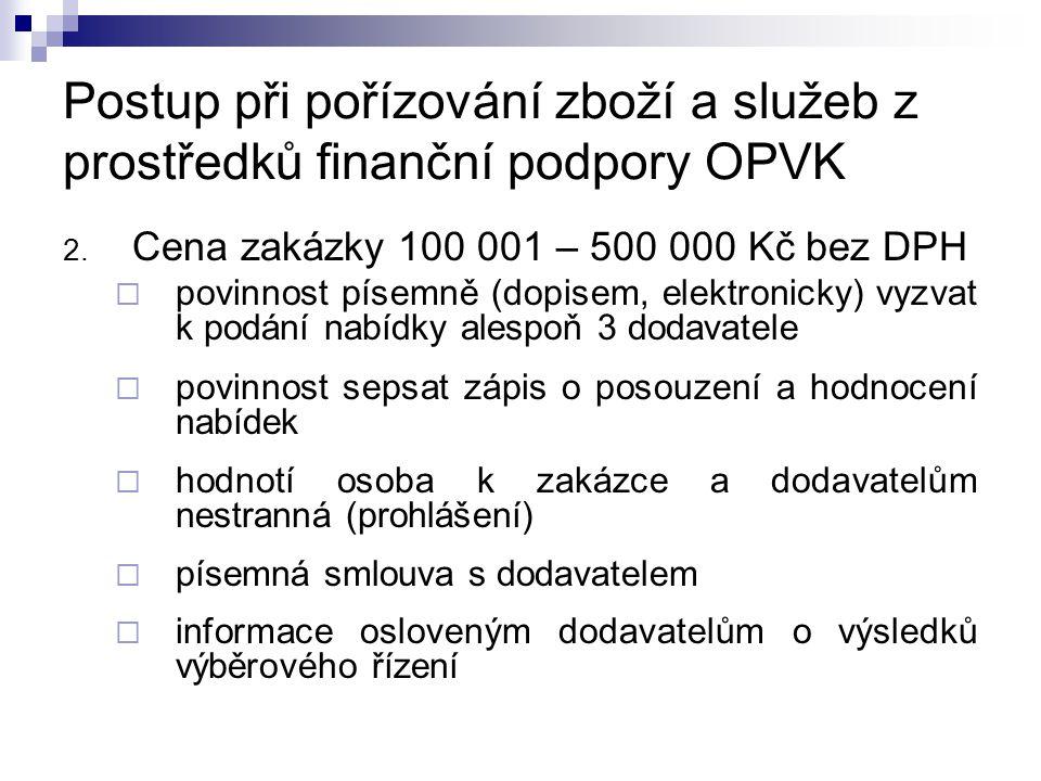 Postup při pořízování zboží a služeb z prostředků finanční podpory OPVK 2.