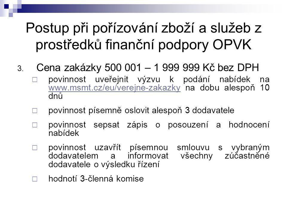 Postup při pořízování zboží a služeb z prostředků finanční podpory OPVK 3.