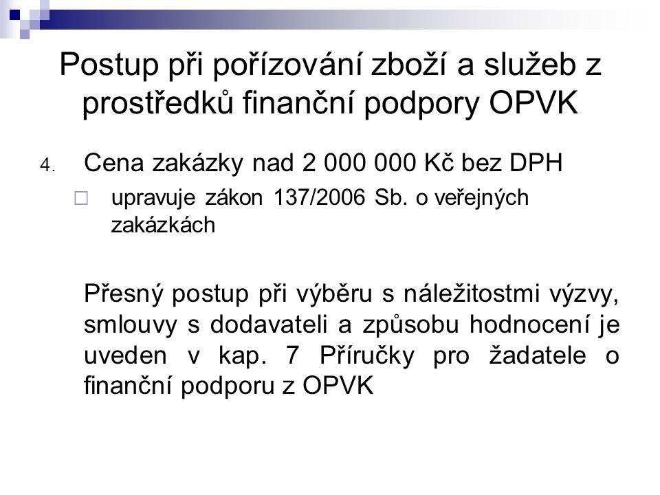 Postup při pořízování zboží a služeb z prostředků finanční podpory OPVK 4.