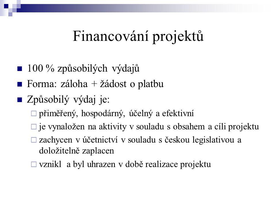 Financování projektů 100 % způsobilých výdajů Forma: záloha + žádost o platbu Způsobilý výdaj je:  přiměřený, hospodárný, účelný a efektivní  je vynaložen na aktivity v souladu s obsahem a cíli projektu  zachycen v účetnictví v souladu s českou legislativou a doložitelně zaplacen  vznikl a byl uhrazen v době realizace projektu