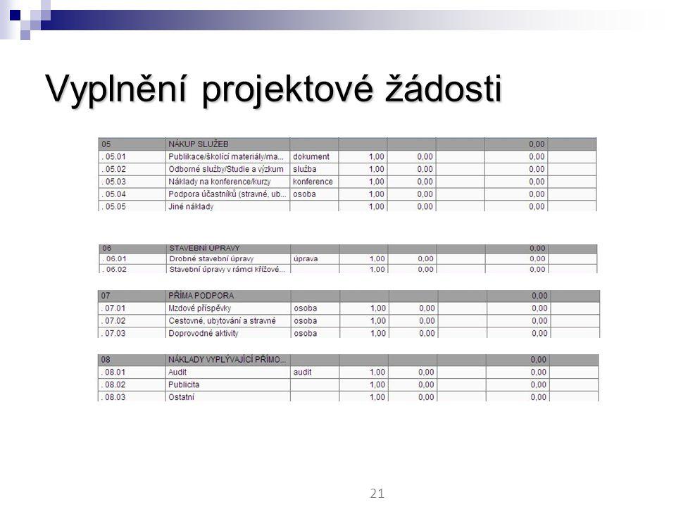 Vyplnění projektové žádosti 21