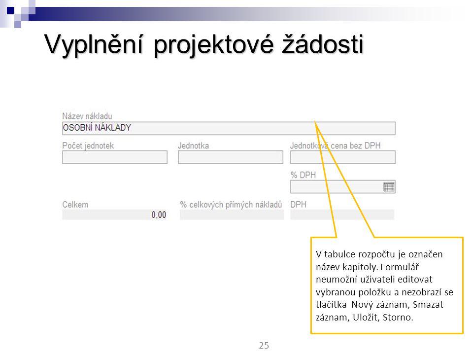Vyplnění projektové žádosti 25 V tabulce rozpočtu je označen název kapitoly.