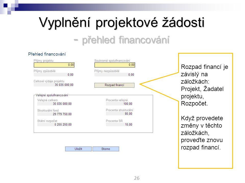Vyplnění projektové žádosti - přehled financování 26 Rozpad financí je závislý na záložkách: Projekt, Žadatel projektu, Rozpočet.