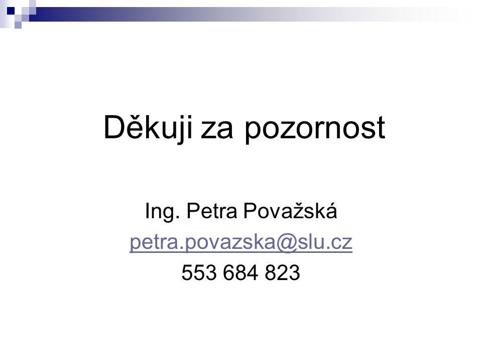 Děkuji za pozornost Ing. Petra Považská petra.povazska@slu.cz 553 684 823