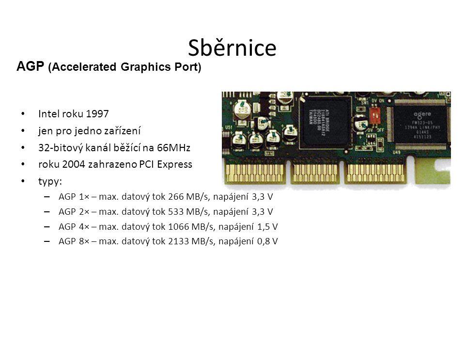 Sběrnice Intel roku 1997 jen pro jedno zařízení 32-bitový kanál běžící na 66MHz roku 2004 zahrazeno PCI Express typy: – AGP 1× – max. datový tok 266 M