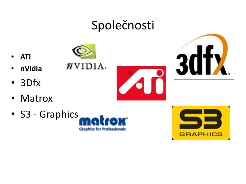 Společnosti ATI nVidia 3Dfx Matrox S3 - Graphics