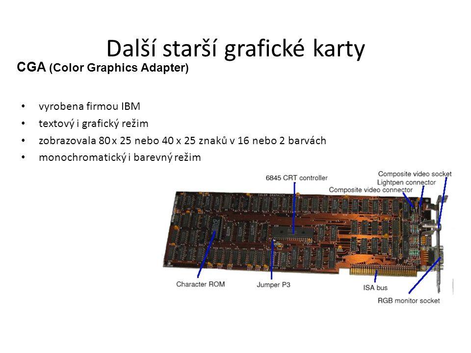 Další starší grafické karty HGC (Hercules Graphics Card) vznikl z adaptéru MDA přidáním možnosti práce i v grafickém režimu EGA (Enhanced Graphics Adapter) vyrobena roku 1984, první všestranně využitelná karta firmy IBM VGA (Video Graphics Array)