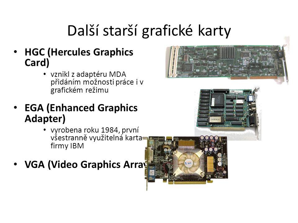 Parametry grafické karty velikost paměti – grafický čip tuto paměť využívá pro ukládání vytvořeného obrazu, mezivýsledků, doplňujících informací a textur počet barev – maximální počet zobrazitelných barev rozlišení – viditelný počet bodů v jedné řádce a počet řádek obnovovací frekvence – určuje, kolikrát za vteřinu je grafická karta schopna aktualizovat obraz