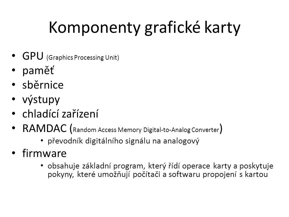 GPU (Graphics Processing Unit) mikročip obsahující stovky milionů tranzistorů výpočetní jádro grafické karty skryt za chladičem využívají videopaměti na grafické kartě (nezatěžují paměť RAM).