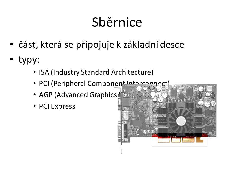 Sběrnice část, která se připojuje k základní desce typy: ISA (Industry Standard Architecture) PCI (Peripheral Component Interconnect) AGP (Advanced Gr