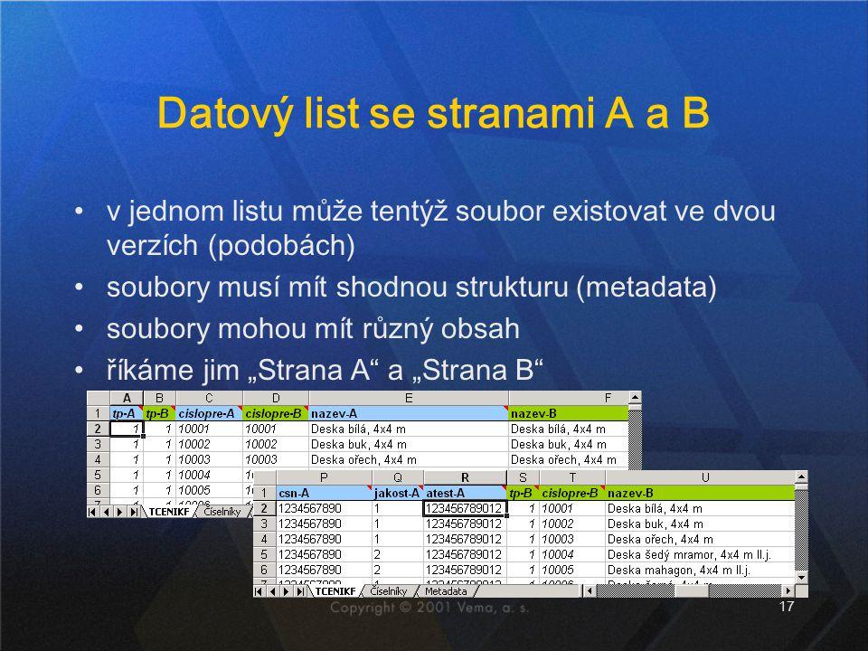 17 Datový list se stranami A a B v jednom listu může tentýž soubor existovat ve dvou verzích (podobách) soubory musí mít shodnou strukturu (metadata)