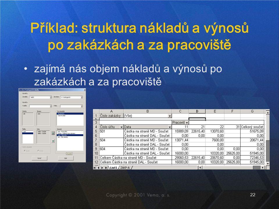 22 Příklad: struktura nákladů a výnosů po zakázkách a za pracoviště zajímá nás objem nákladů a výnosů po zakázkách a za pracoviště